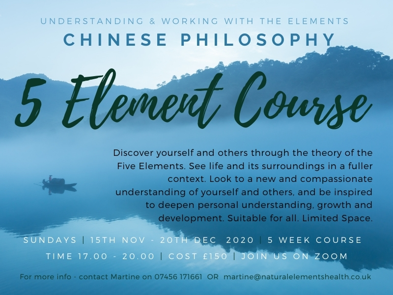 5 Elements course 2020 Chinese Philosophy and personal growth Natural elements Acupuncture Clinic Bournemouth